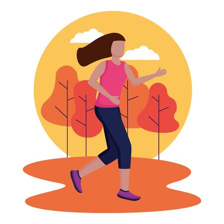 woman running activity in the outdoors vector illustration Imagens - 130008365