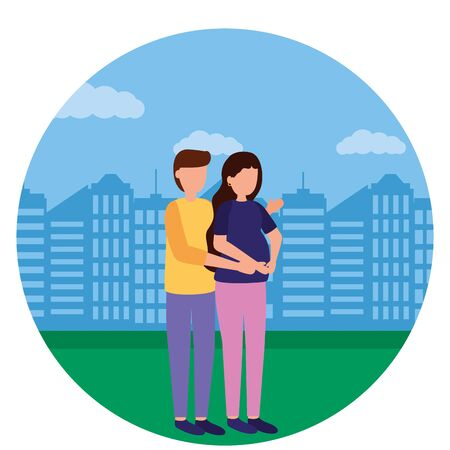man and woman pregnancy and maternity city park vector illustration