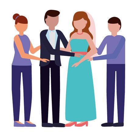 couple wedding day with her parents vector illustration Ilustração