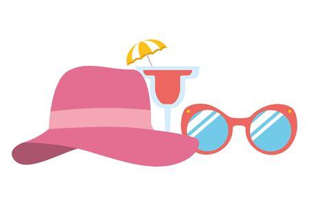 beach vacations sunglasses hat cocktail  vector illustration Illustration