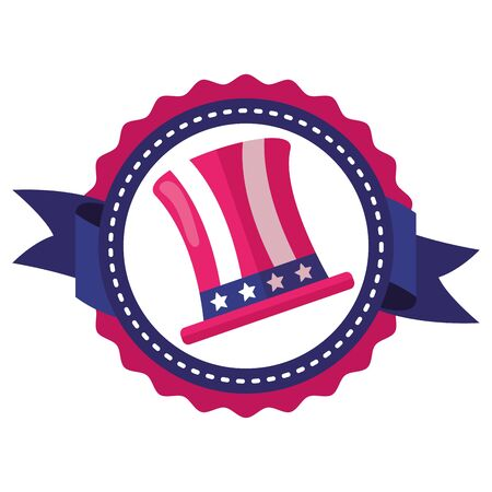 top hat with american flag independence day label vector illustration