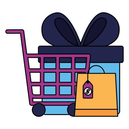online shopping ecommerce cart gift and bag sale vector illustration