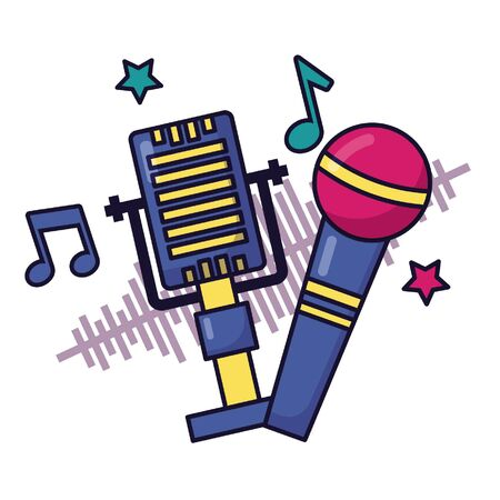 two microphones notes music festival on white background vector illustration