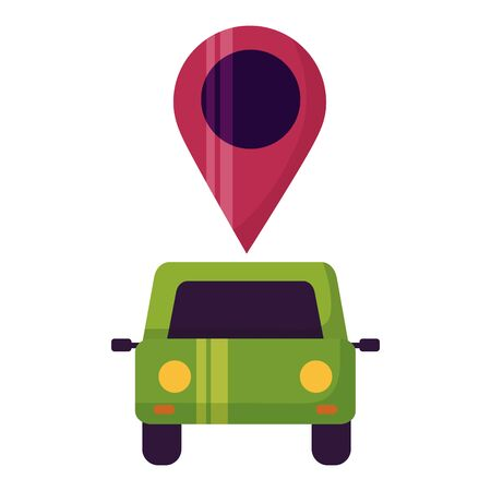 car vehicle transport navigation pin vector illustration