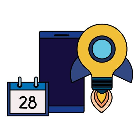 smartphone with rocket bulb and calendar vector illustration design 일러스트