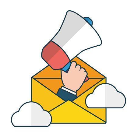 hand with megaphone marketing send email vector illustration 일러스트