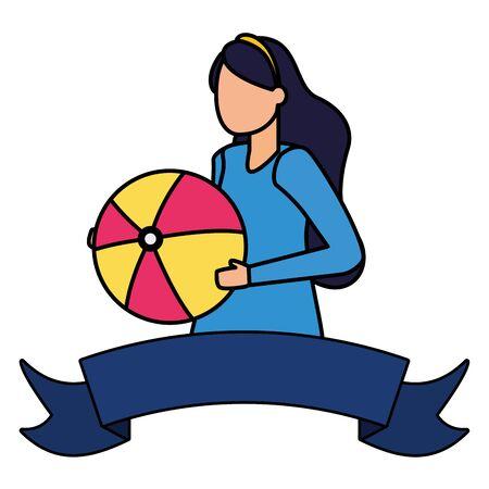 happy woman holding beach ball vector illustration