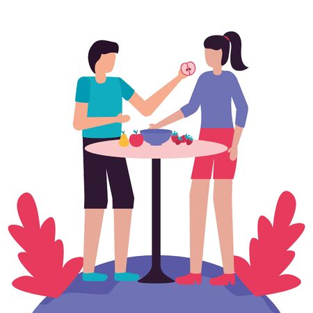 couple eating fruits in table romantic love flat design vector illustration