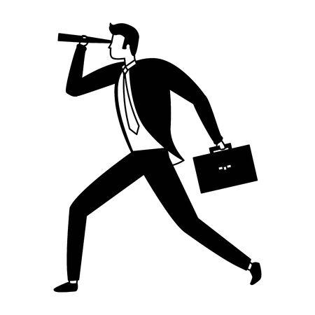 businessman looking telescope business success vector illustration