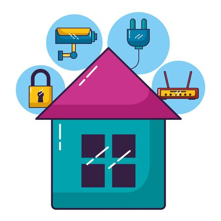 smart home security router wifi internet connection vector illustration Foto de archivo - 130009201
