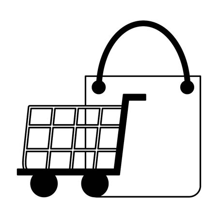 shopping cart and bag commerce on white background vector illustration