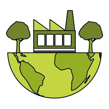 world factory trees eco friendly environment vector illustration