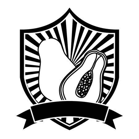 papaya tropical fruits ribbon emblem vector illustration