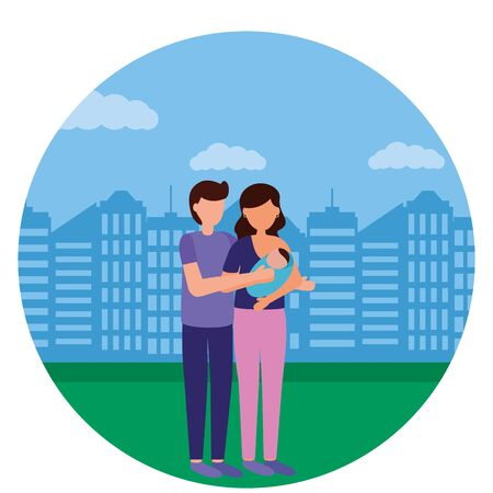 dad and mom carrying newborn city park - pregnancy and maternity vector illustration