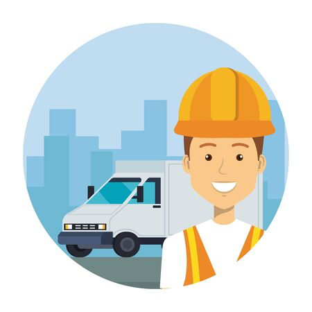 industrial worker with delivery van vehicle on the city vector illustration design