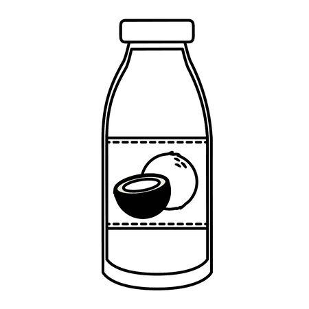 juice bottle coconut tropical fruits design vector illustration