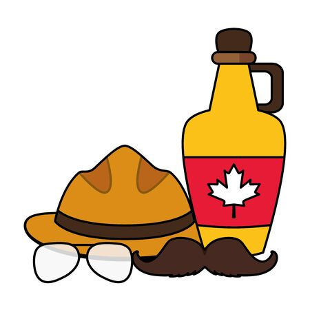 syrup hat mustache and glasses canadian flag happy canada day vector illustration Standard-Bild - 129945180