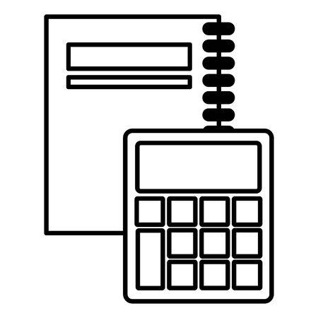 spiral notebook and calculator back to school vector illustration Foto de archivo - 130009945