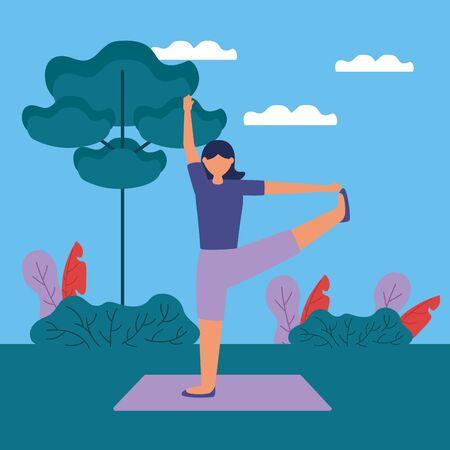 yoga outdoor woman flexing her leg vector illustration  イラスト・ベクター素材