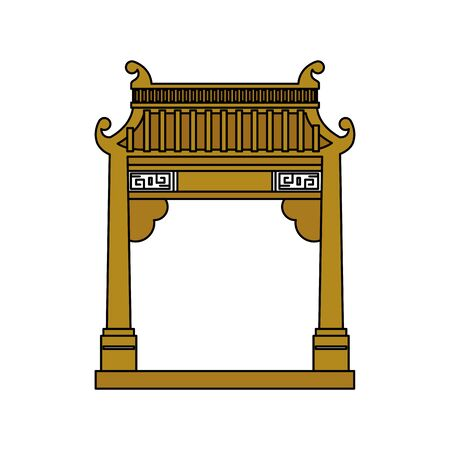 chinese arch building traditional icon vector illustration design Ilustração