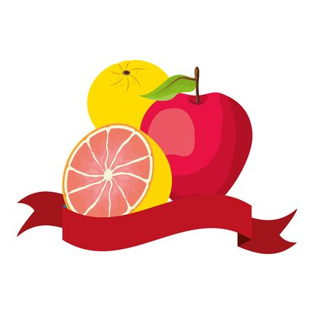 grapefruit apple lemon tropical fruits banner vector illustration