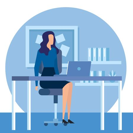 elegant businesswoman worker in the office vector illustration design