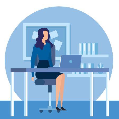 Travailleur de femme d'affaires élégant dans la conception d'illustration vectorielle de bureau Vecteurs