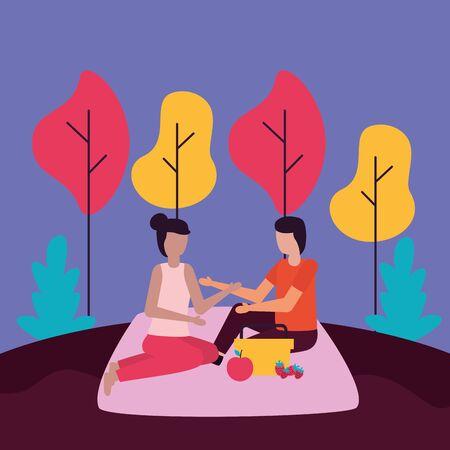 couple eating fruit sitting picnic romantic activities outdoors vector illustration Standard-Bild - 129947883