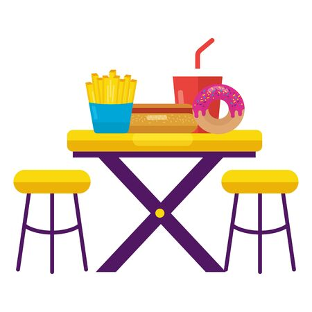 hot dog french fries soda donut on table with chairs vector illustration Ilustração