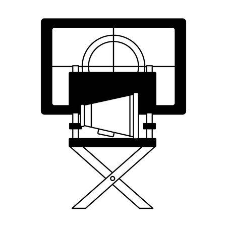 chair director speaker countdown cinema movie vector illustration Foto de archivo - 130010933