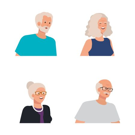 set of old women and men people over white background, vector illustration