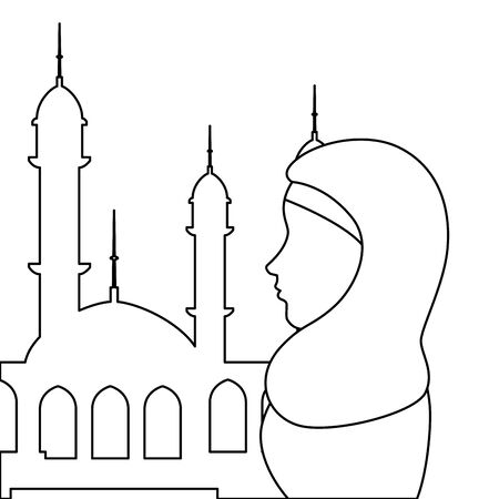 profile of islamic woman with traditional burka in mosque vector illustration design