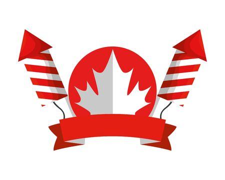maple leaf canadian with fireworks vector illustration design
