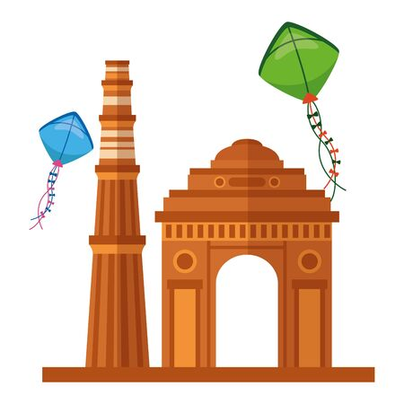 indian gateway with kites flying independence day icon vector illustration design