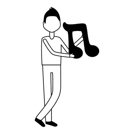 man holding note music on white background vector illustration Ilustração