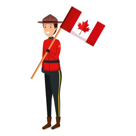 canadian officer ranger with flag character vector illustration design
