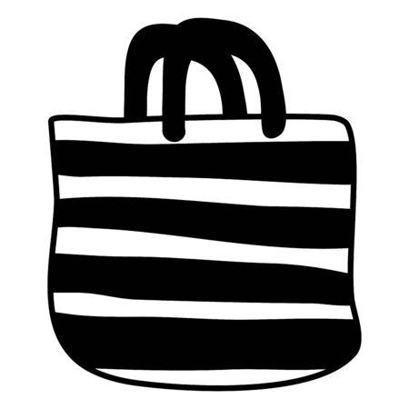 handbag stripes decoration on white background vector illustration Archivio Fotografico - 130010493
