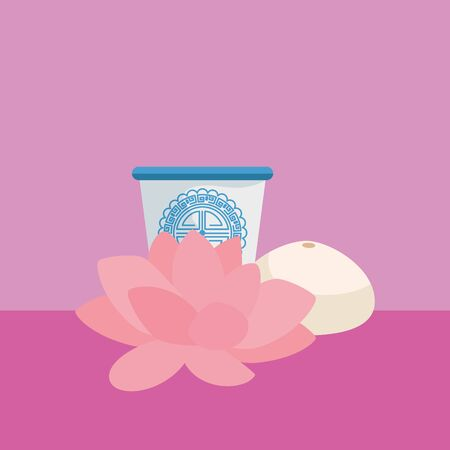 traditional chinese tea cup with flower lotus vector illustration design