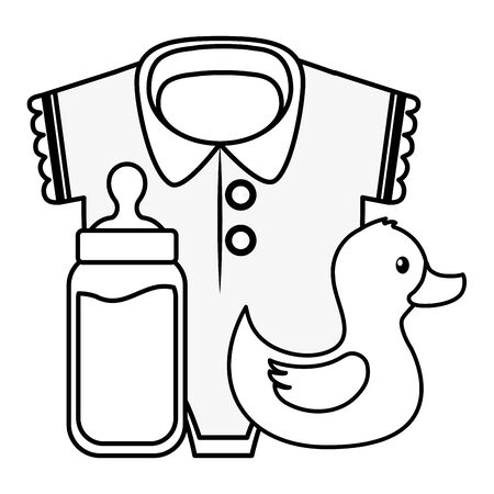 clothes bottle and duck girl decoration baby shower card vector illustration  イラスト・ベクター素材