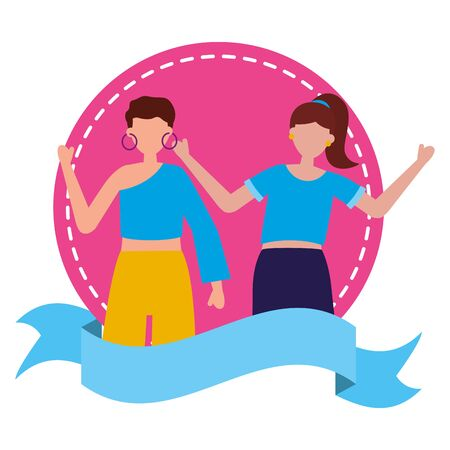 celebrating women happy young sticker vector illustration