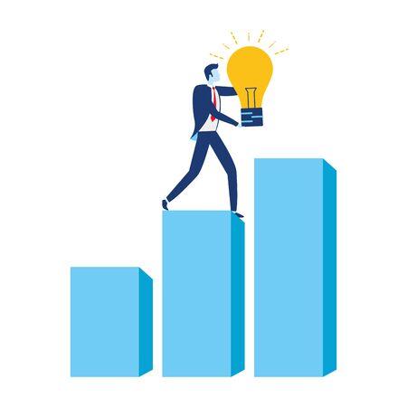 biznesmen żarówka kreatywność wykres finansowy biznes sukces ilustracja wektorowa