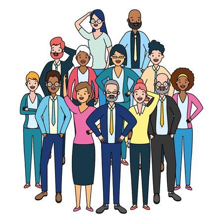 Diversidad de personajes de grupo de personas en la ilustración de vector de fondo blanco