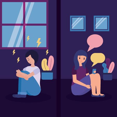 couple heart break disappointed depressed vector illustration