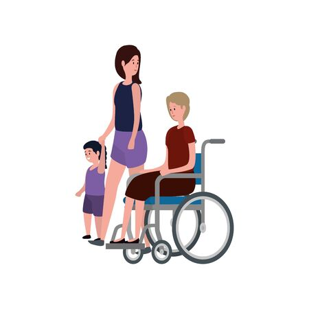 grandmother in wheelchair with daughter and granddaughter vector illustration  イラスト・ベクター素材