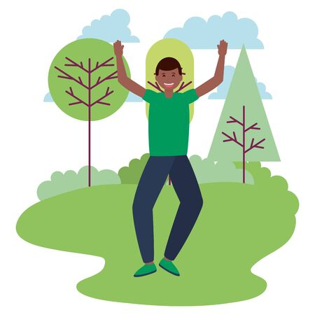 happy young man in the park outdoors vector illustration 版權商用圖片 - 130074558