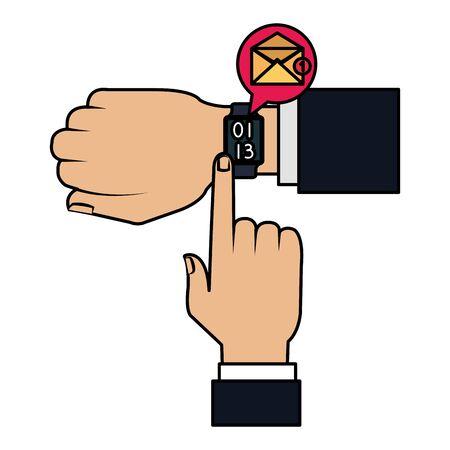 hands with smartwatch sending email vector illustration design  イラスト・ベクター素材