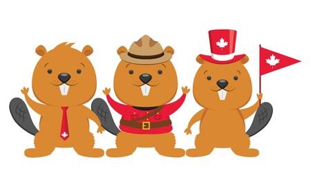 beaver characters symbol happy canada day vector illustration Stok Fotoğraf - 130074559
