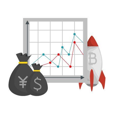 rocket launcher with bitcoin symbol vector illustration design 일러스트