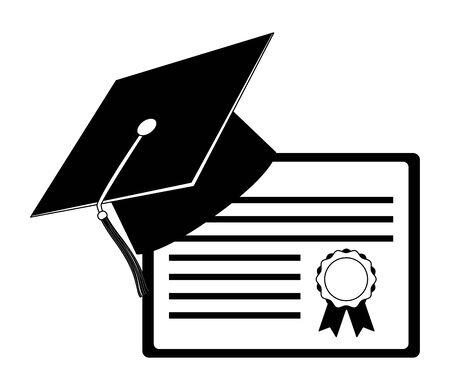 graduation hat and school certificate vector illustration Иллюстрация