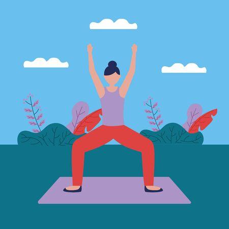 woman hands up yoga outdoor plants nature vector illustration Illusztráció